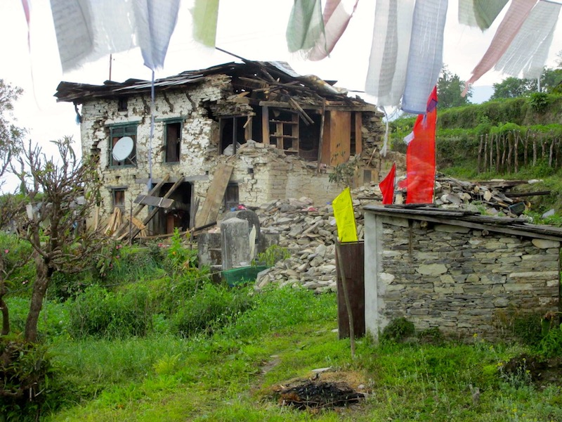 earthquake-damaged building in the mountains of Nepal