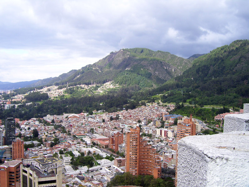 Bogota, Colombia, cityscape with mountains